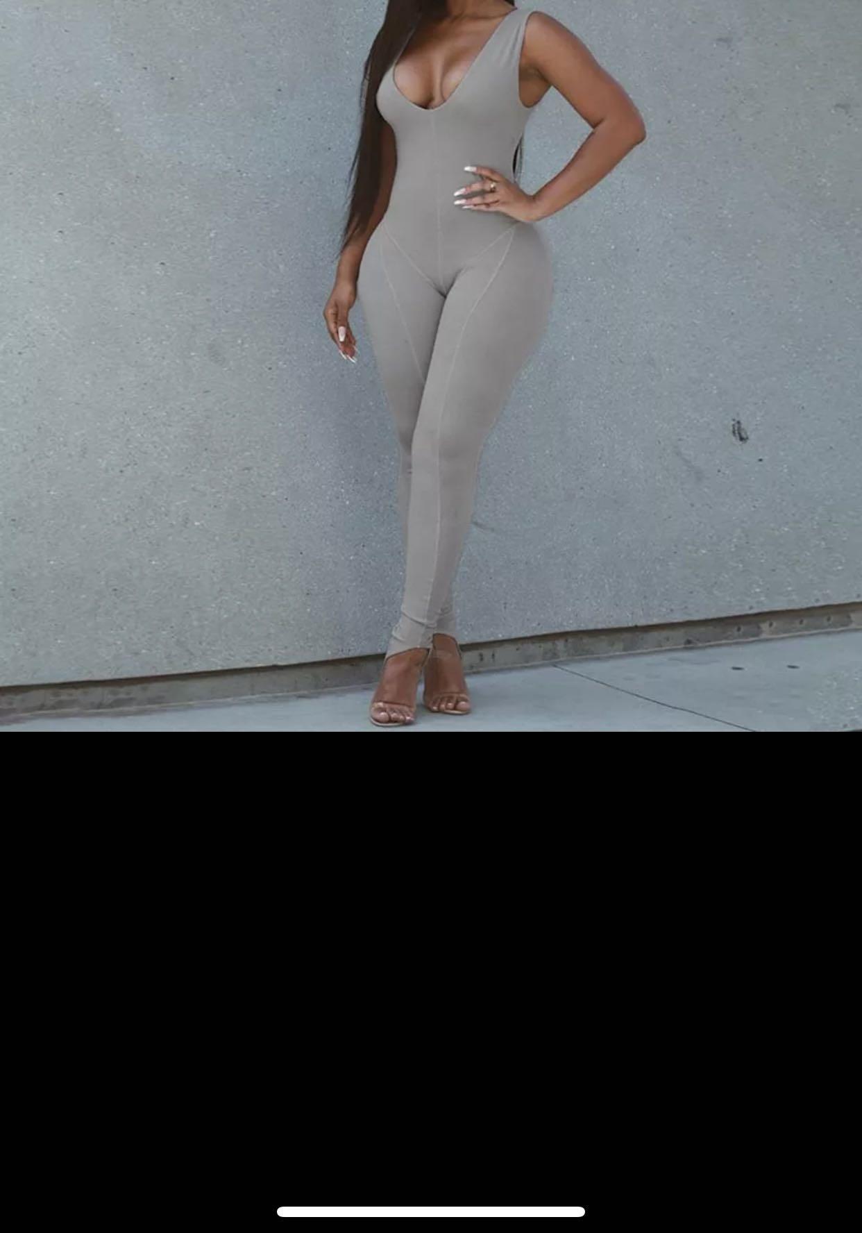 Grey split jumpsuit