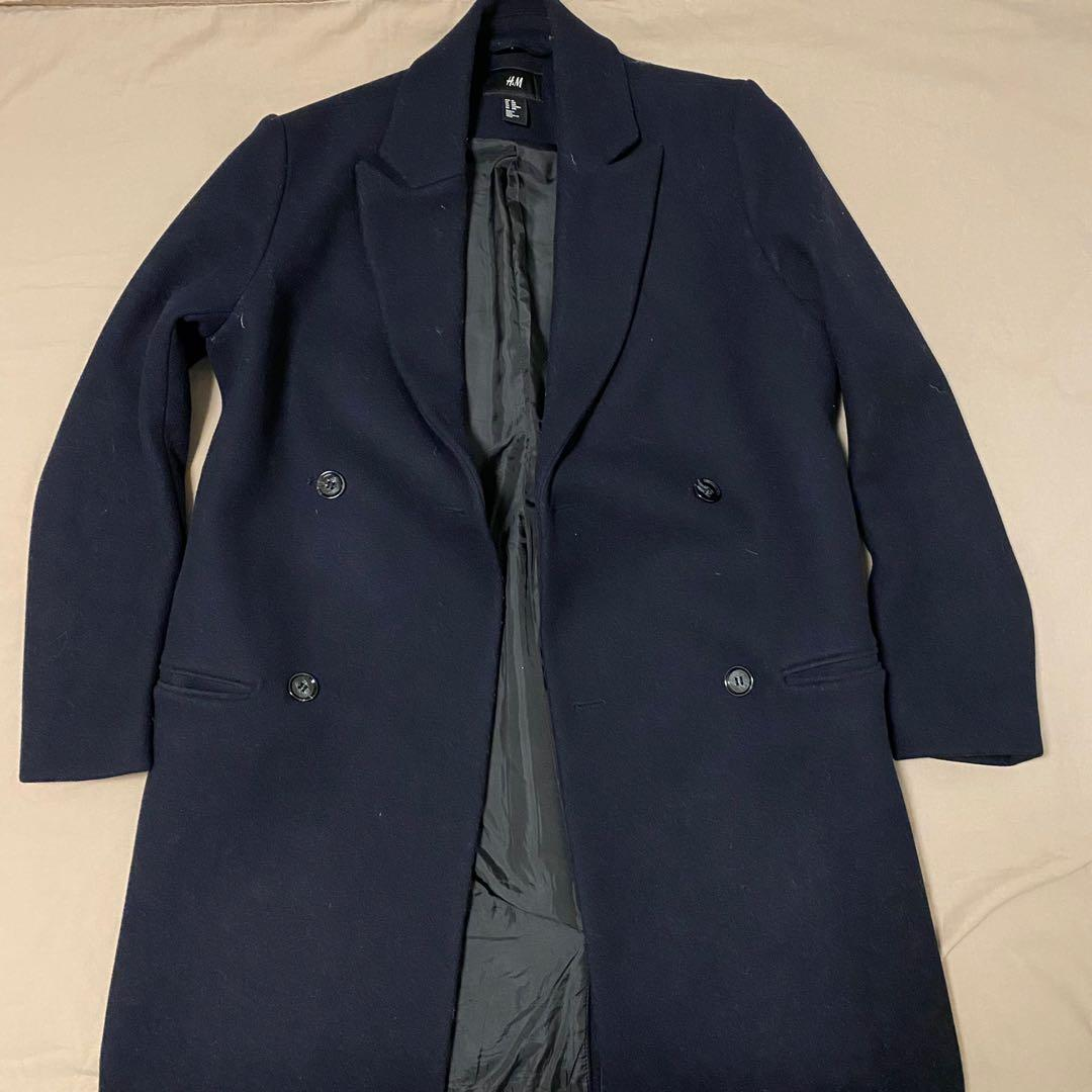 H&M Navy Wool-Blend Coat