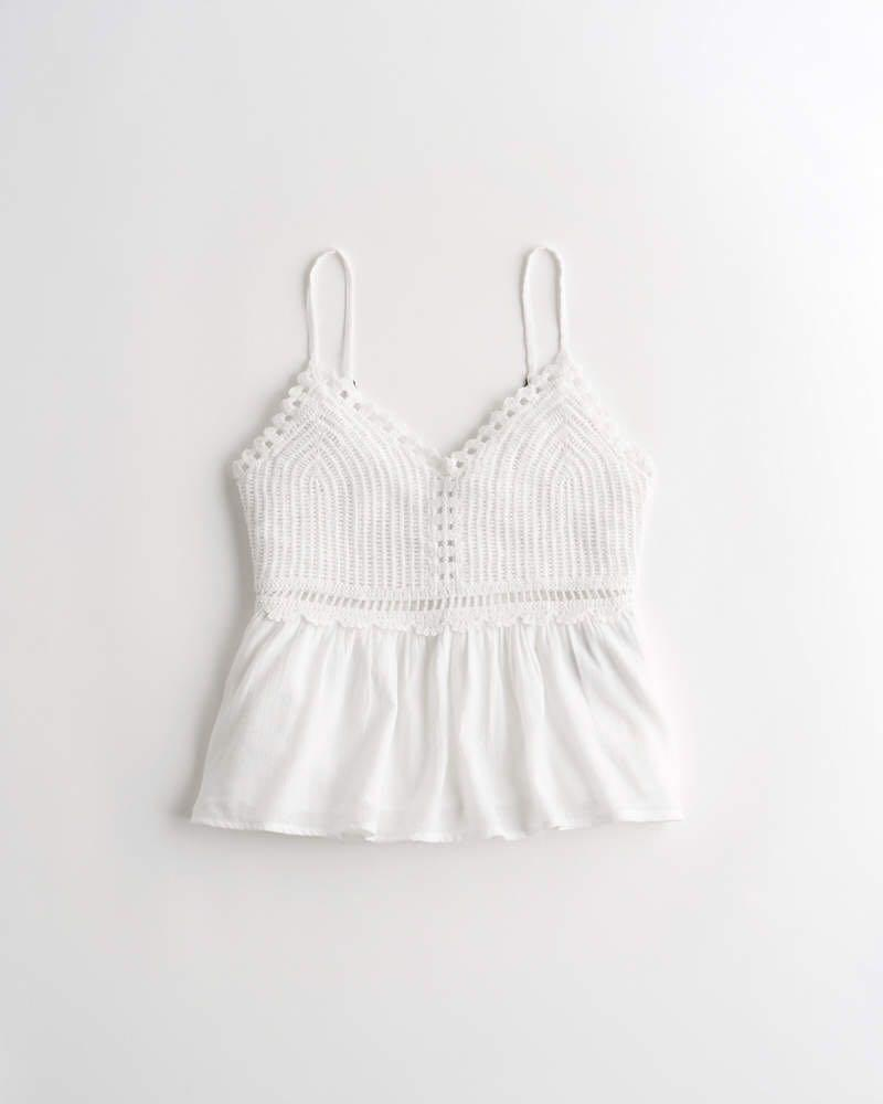 Hollister White Crochet Tank (Size XS)