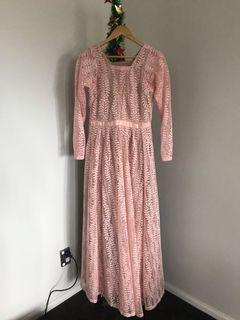 Pink and nude maxi dress size 10-12