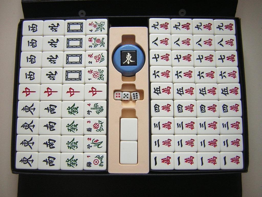 高級竹絲加重二手麻將~背白色~牌尺寸3.3公分(33mm)*2.5公分近九成新