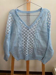 最後出清1/31下架!品牌二手冬季服飾 藍色透膚毛衣 毛海質感 便宜出清