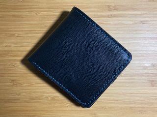 全新訂製品 手工復古黑色牛皮皮夾 短夾 藍綠色縫線