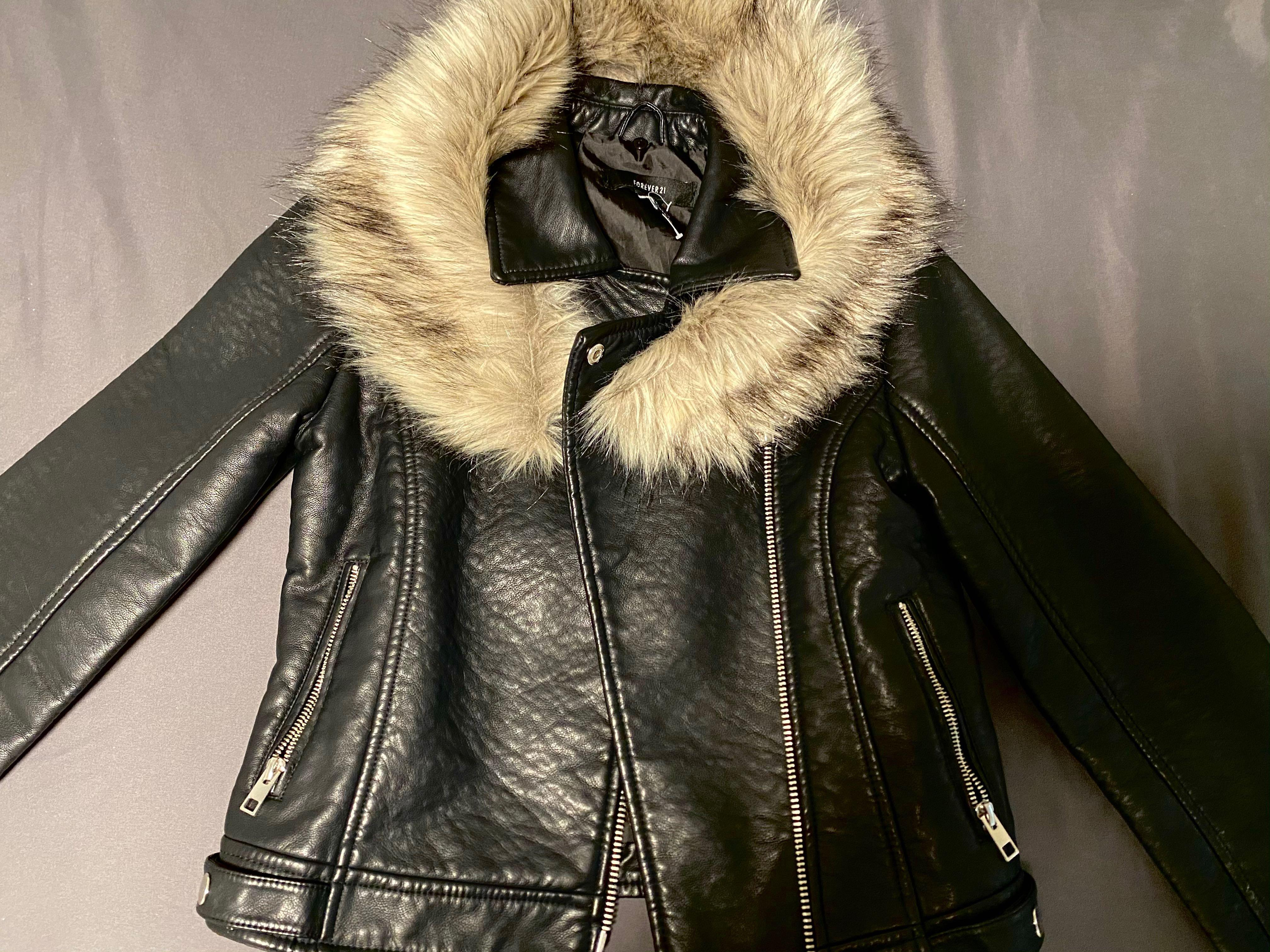 Forever 21 faux leather Jacket with fur