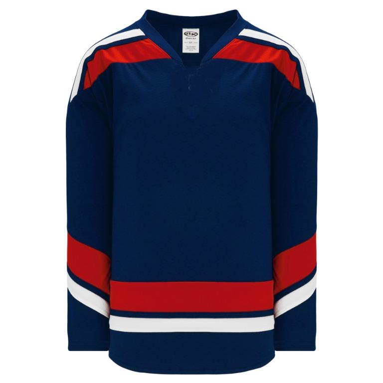 Men's League Hockey Jersey, Navy/Red/White (Size L)