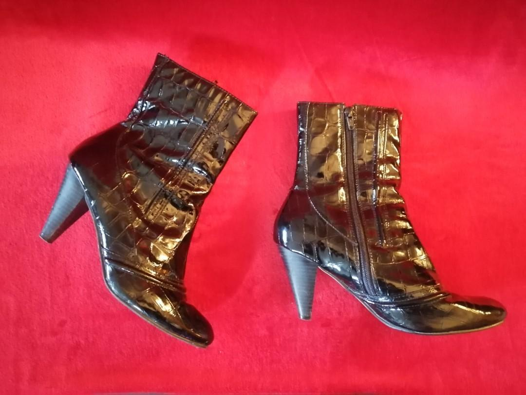 Patent Leather Alligator Ankle Boots