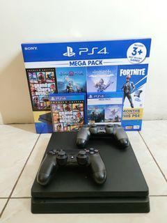 PS4 Slim 1 TB + 2 Game Bawaan