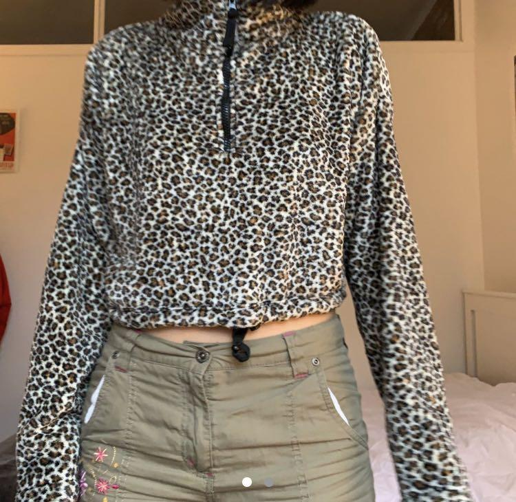 Urban Outfitters leopard print pullover zip up