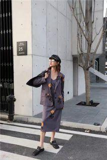 港風復古西裝外套+洋裝一套