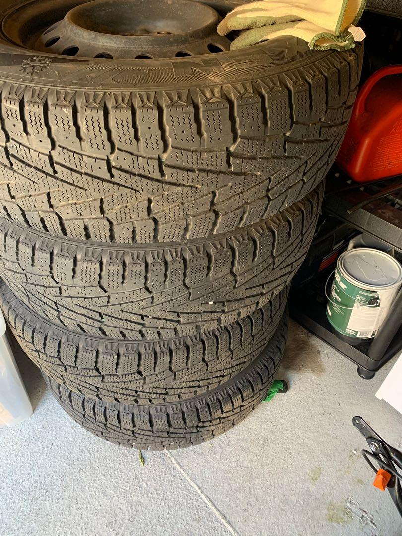 A set of 4 winter tires on rims!!