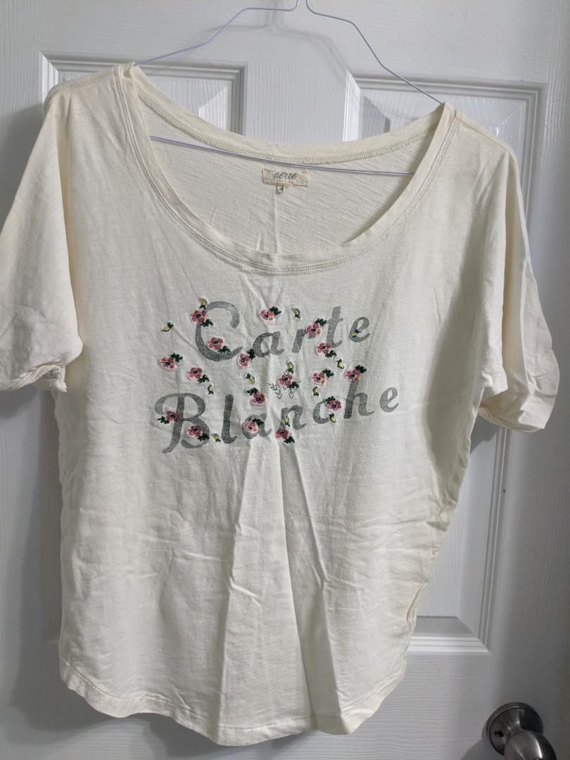 Aerie Cream/Off White Print Oversized Shirt (Small)