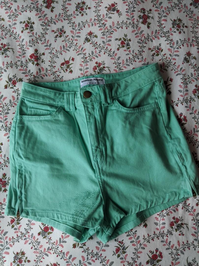 American Apparel Mint Green High Waisted Shorts (Size 26)