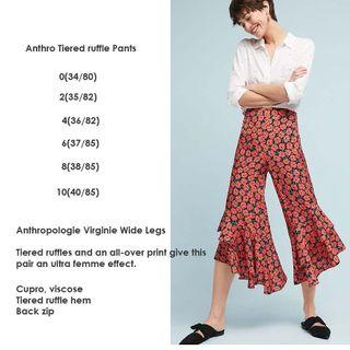 Anthro Ruffle Pants