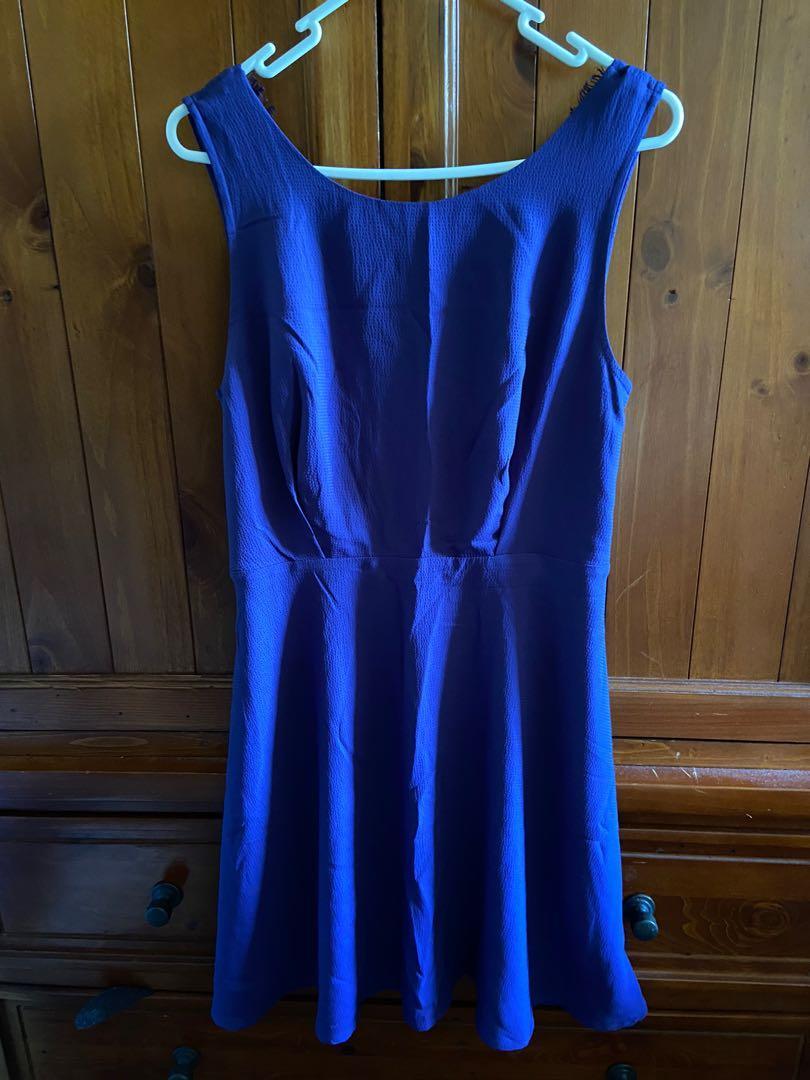 Blue skater dress with eyelash lace back