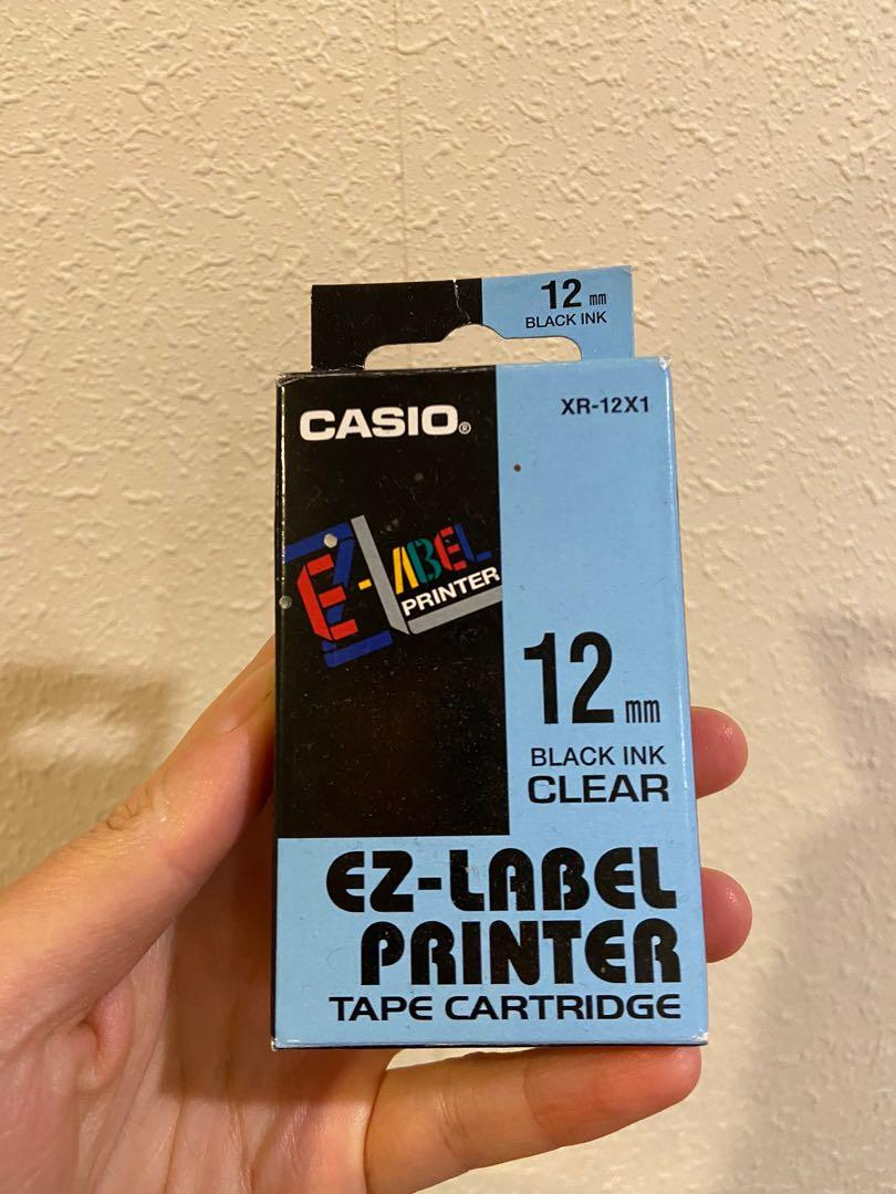 Casio label tape BLACK on CLEAR 12mm