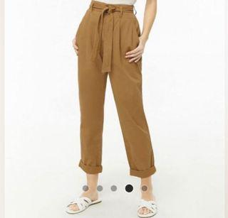 F21 brown paperbag trouser