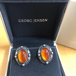 🇩🇰丹麥製㊣Georg Jensen 喬治傑生1995琥珀耳環
