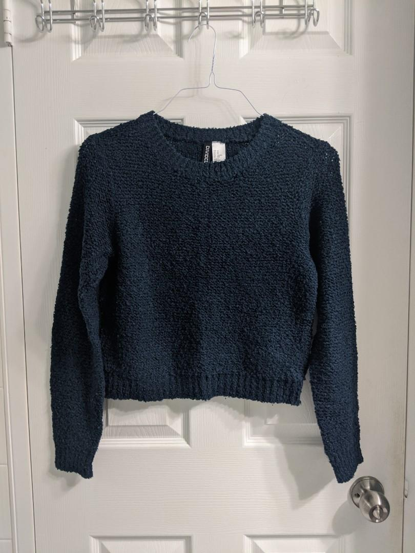 H&M Navy Blue Knit Sweater (X-Small)