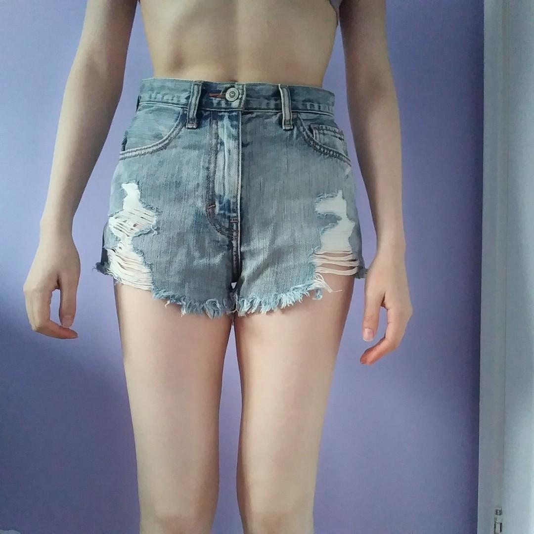 Hollister high-waisted distressed shorts, 00
