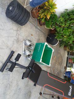 Home Gym Equipment - Barbell , Weight Plates  ,  Dumbbells , Adjustable Fold Bench , Connector Rod EZ Bar