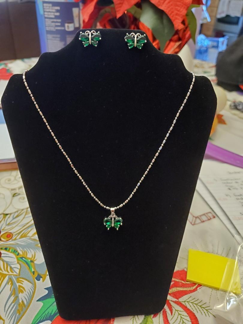 Silver Emerald Butterfly Necklace Set