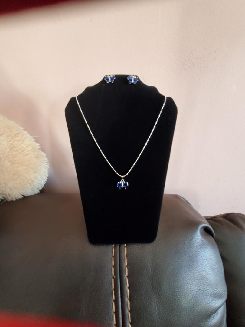 Silver Sapphire Butterfly Necklace Set