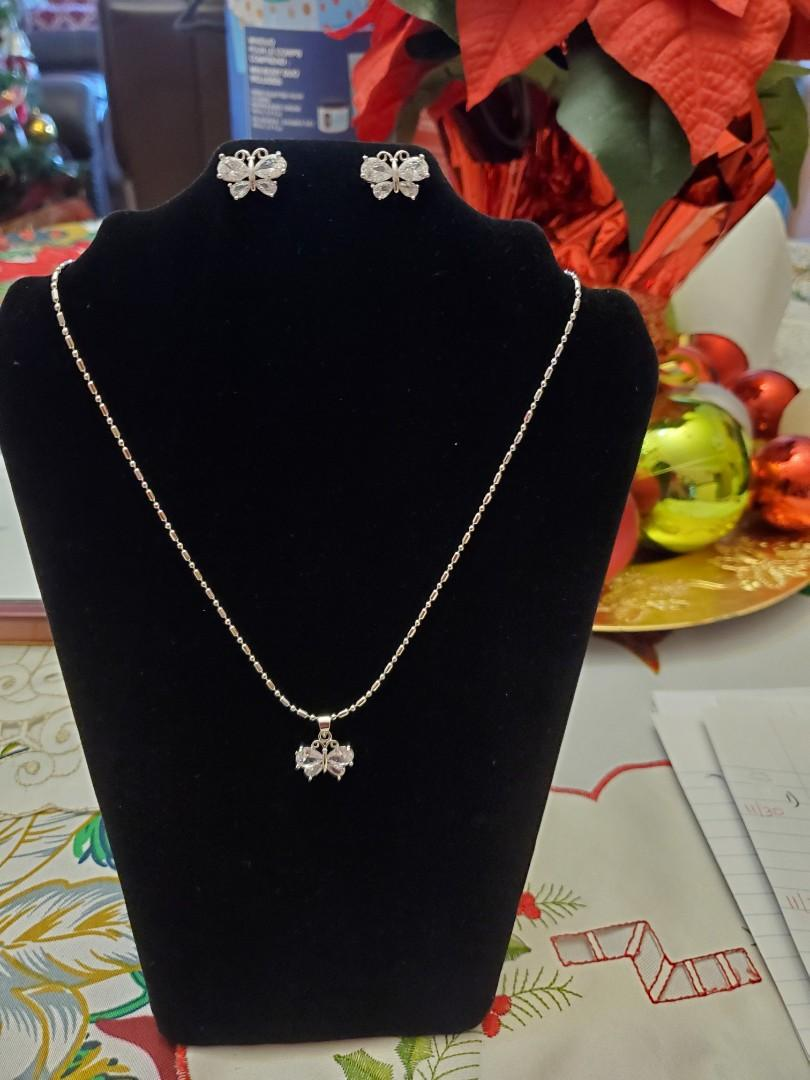 Silver White Butterfly Necklace Set