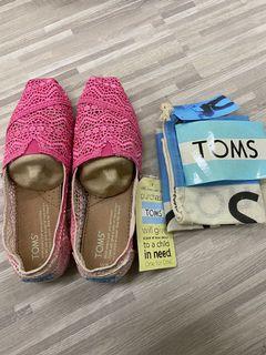 TOMS蕾絲懶人鞋-漸層粉