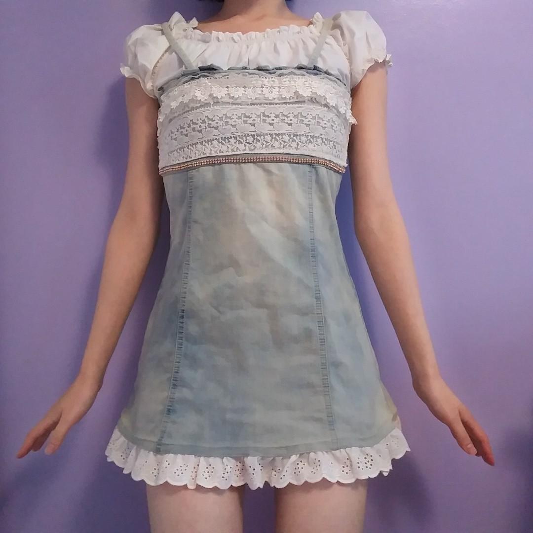 Vintage-wash denim mini dress with embellishment, 0P
