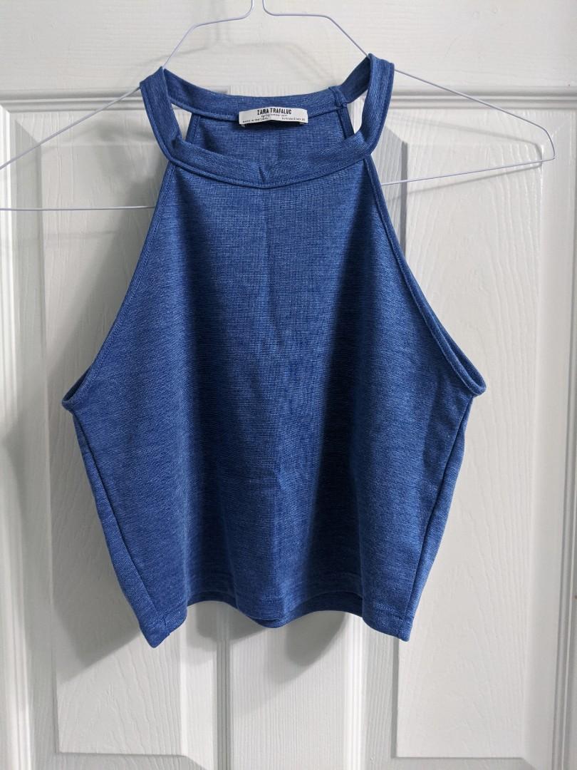 Zara Blue High Neck Cropped Tank Top (Small)