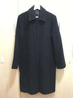黑色毛料古著風二手大衣