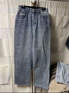 刷色牛仔直筒落地褲 #618