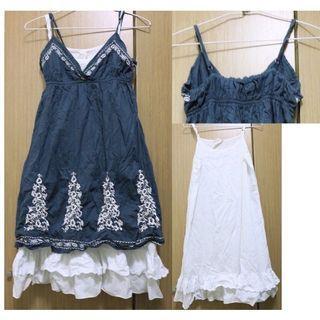 二手 衣服 藏青 兩件式 細肩 美背 洋裝 小洋裝 夏天 波西米亞 刺繡 花紋 兩件式 洋裝 裙子