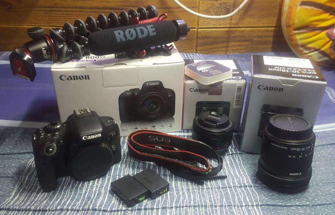 Canon 800D with 2 batteries,canon 50mm 1.8ii,canon 10-18mm STM,godox V860ii,godox XPro,joby 3k kit,rode mic