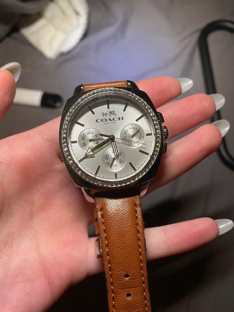 Coach Swarovski crystals leather watch
