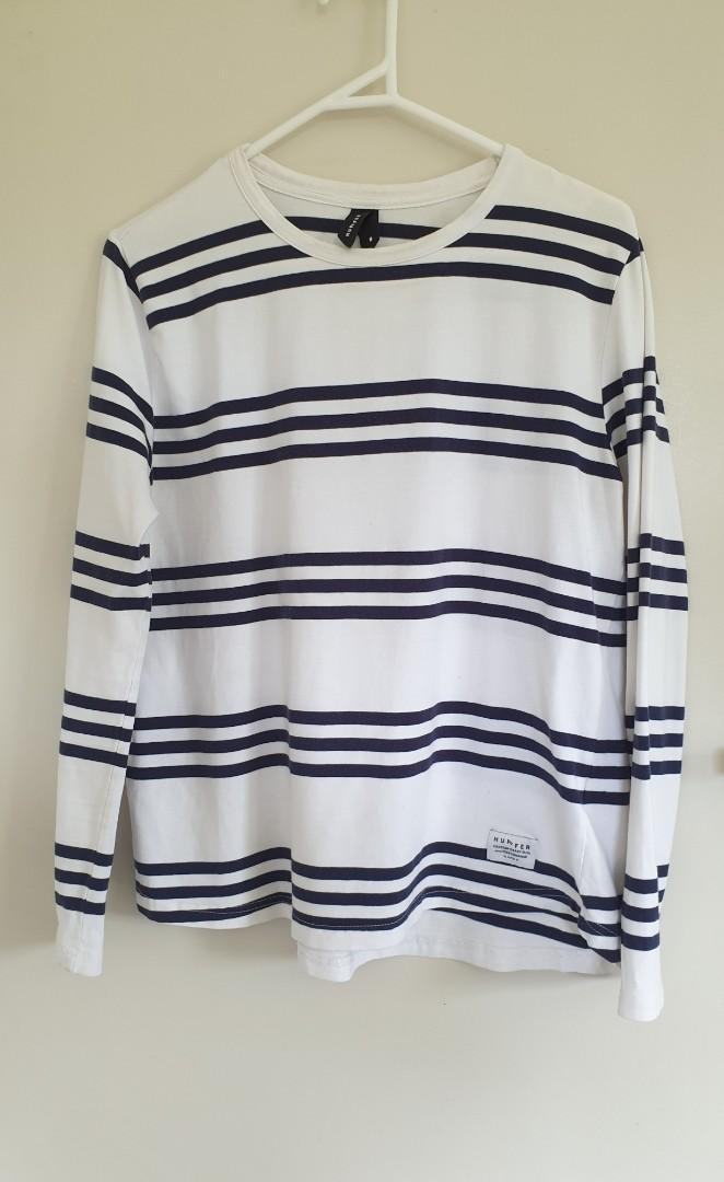 Huffer white with navy stripe top