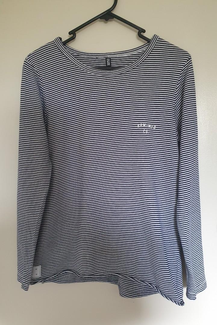 RPM white & navy stripe top