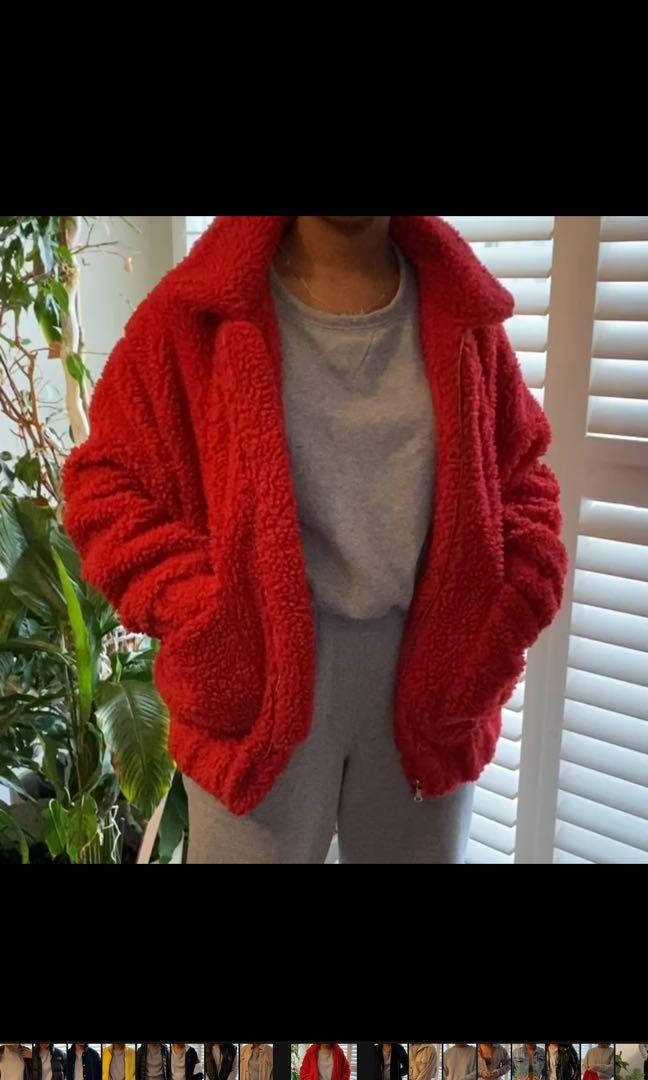 Long red Sherpa jacket