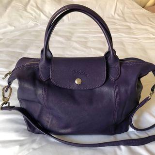 LONGCHAMP Le pliage Cuir 小型提把羊皮折疊兩用包(紫)