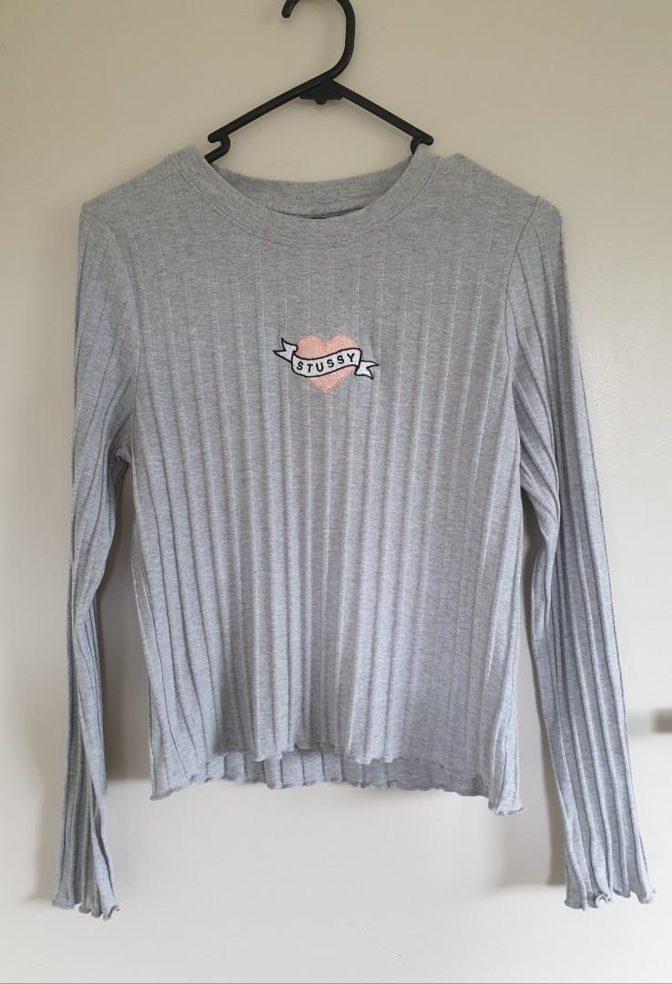 Stussy grey ribbed top