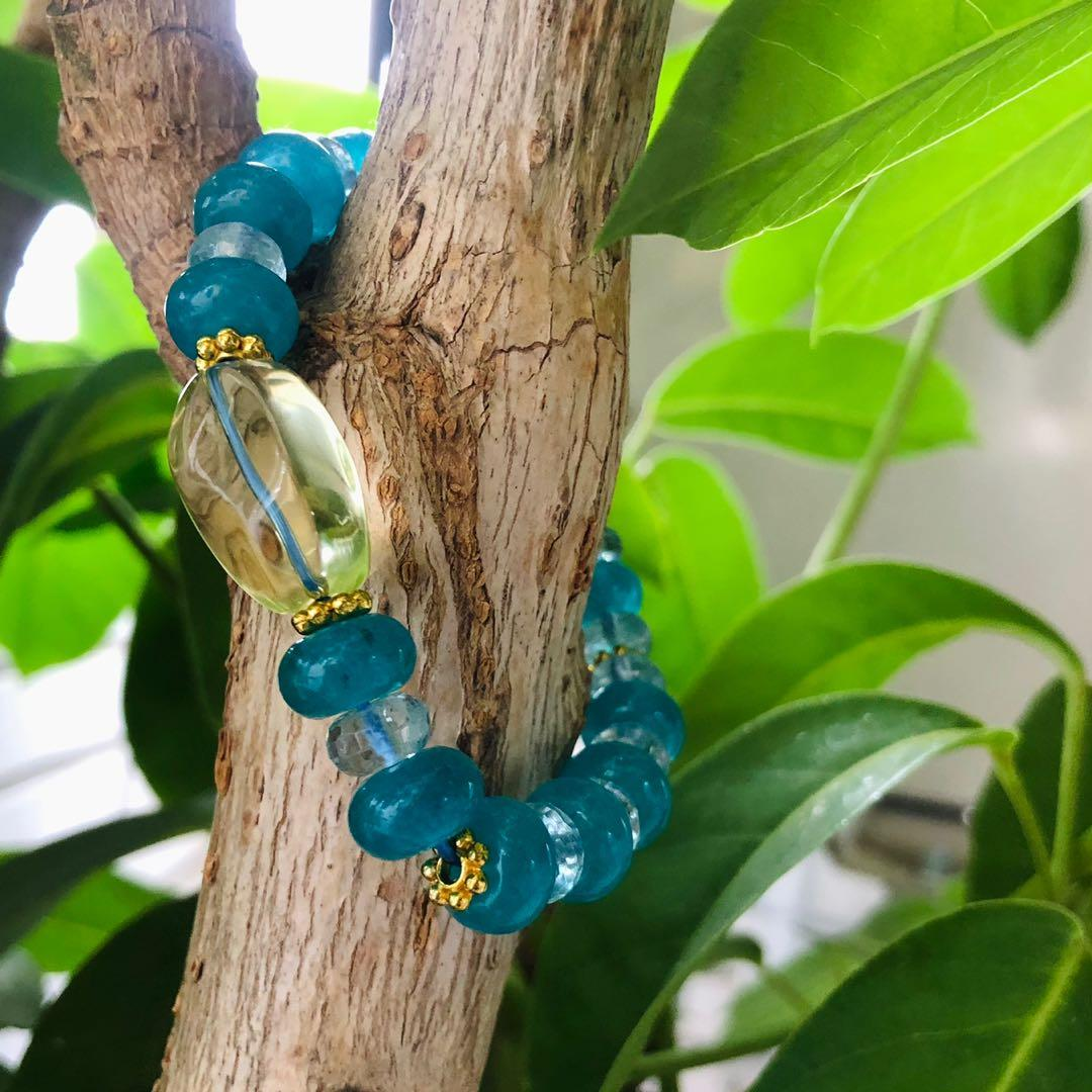 🍋檸檬薄荷糖🍬#黃水晶#天河石海水藍寶