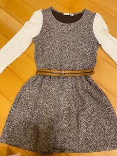 棕白拼色洋裝(送腰帶)