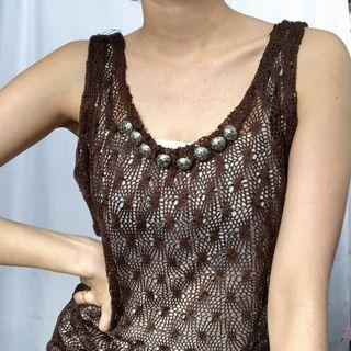 Crochet Top with Beaded Neckline and attached inner white tank top