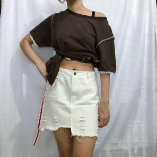 HUMAN Dark Brown Tshirt with Contrast Details