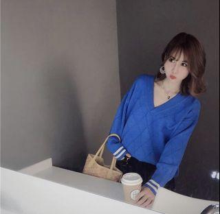 La BellezaV領羅紋肩帶吊帶袖條紋菱格包心紗針織毛衣