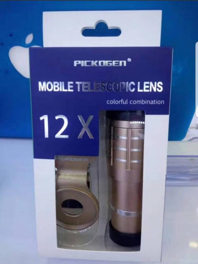 Pickogen Lensa Tele Zoom 12x + clip jepit Pink Metalic