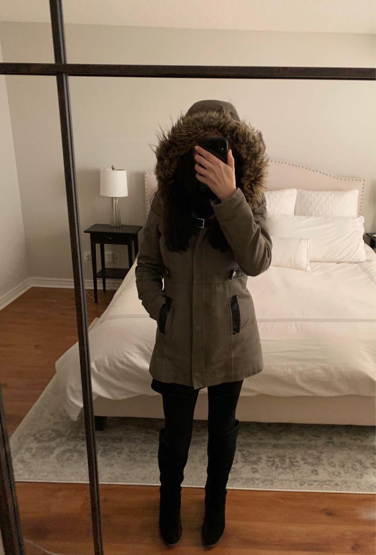 RW& Co parka women winter coat size XS  khaki green parka jacket