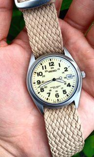 Seiko Spirit Rare SBCA003 Beige/Cream Fully Lumed Dial Military Watch with FREE Black Nato Strap