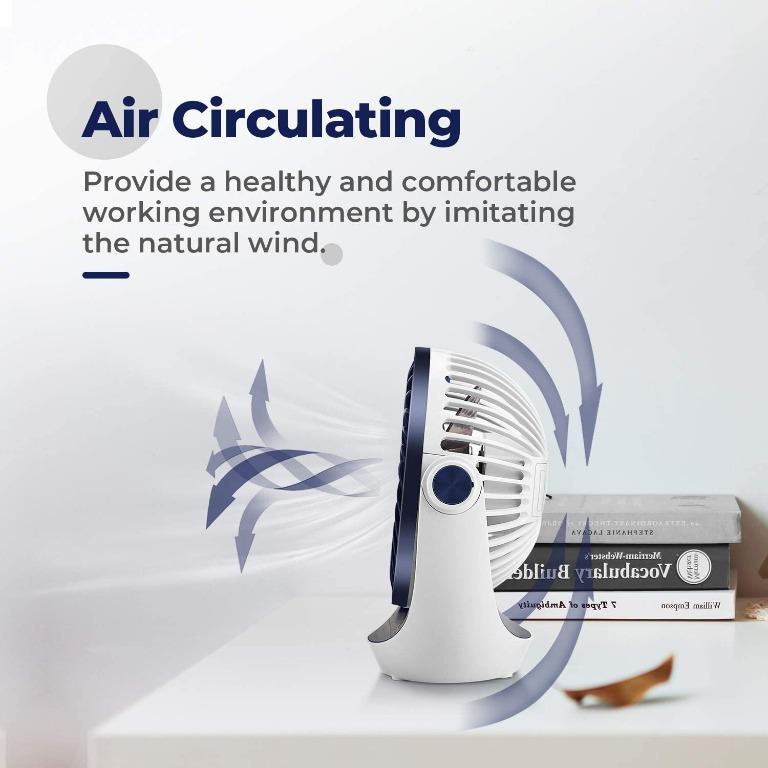 Rechargeable Battery Operated Mini Foldable Cooling Fan with Strong Airflow Quiet Operation HueLiv Desk Fan USB Table Fan 3 Speed Head Rotatable Desktop Fan for Home Office and Bedroom