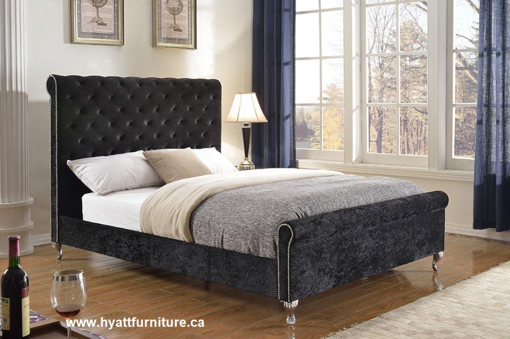 Brand new Velvet Fabric Queen Platform Bed $598